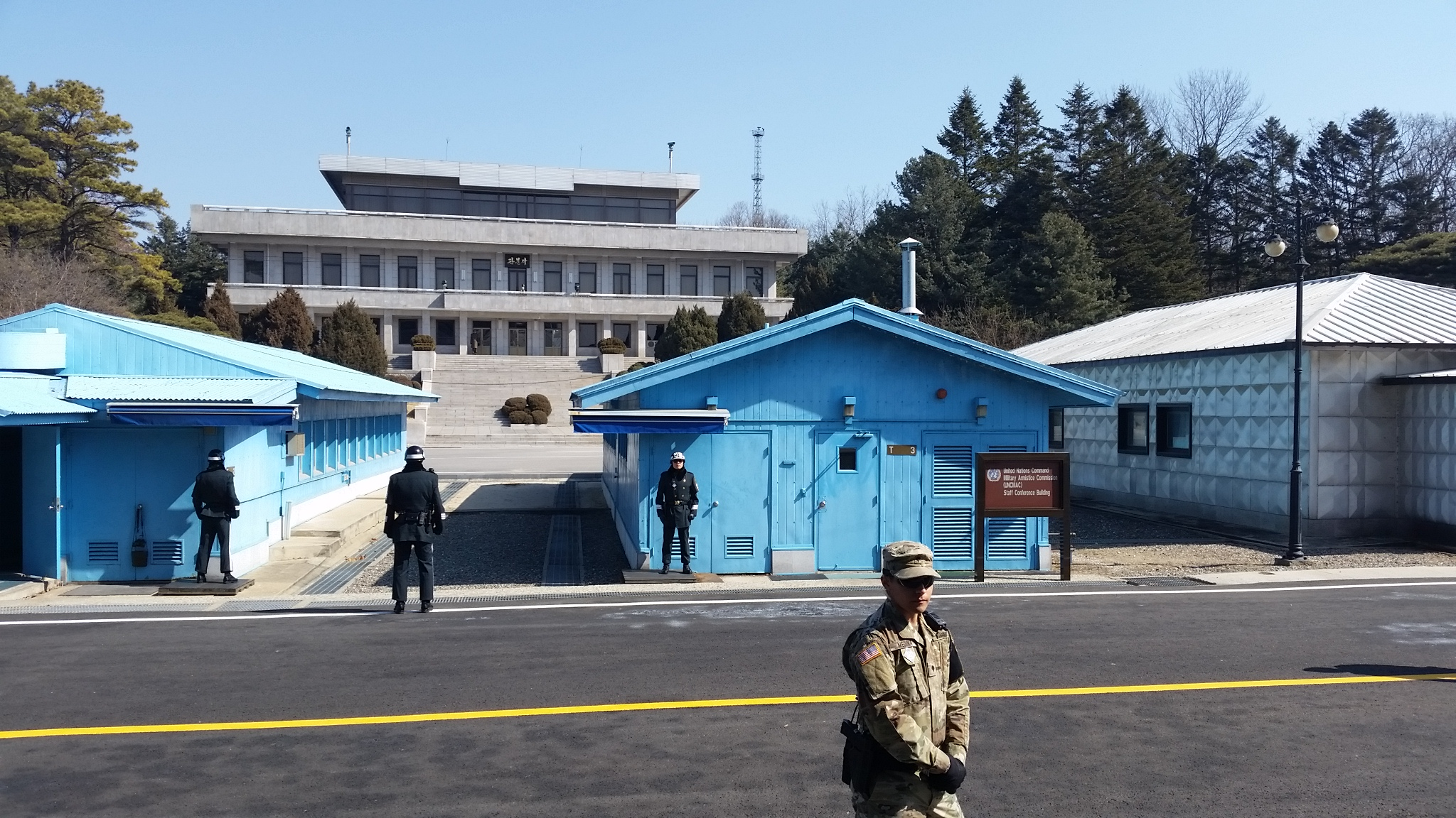 North Korea's Panmungak building, visible in the background behind Buildings T-2 and T-3.