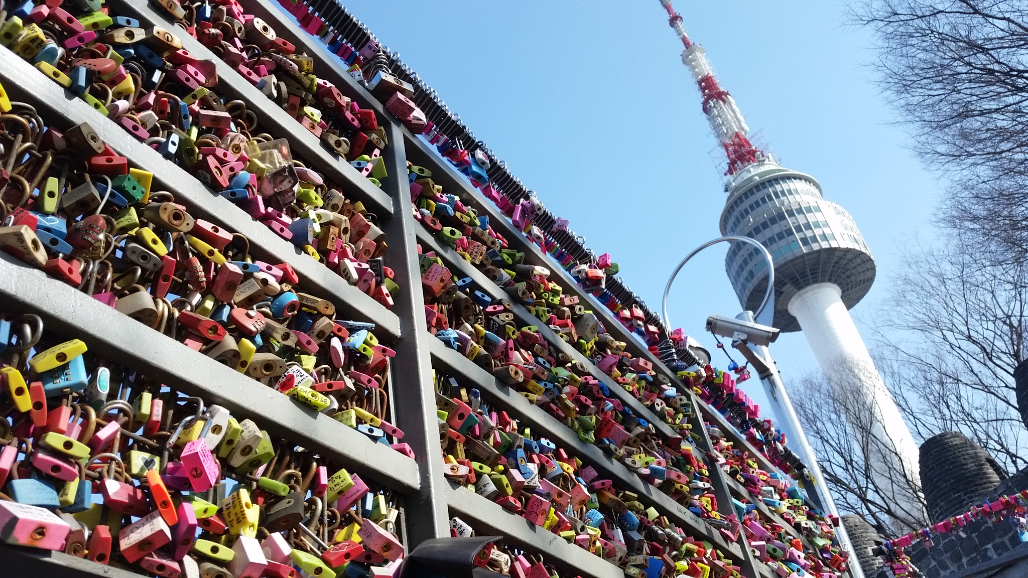 Love locks with N Seoul Tower in the background
