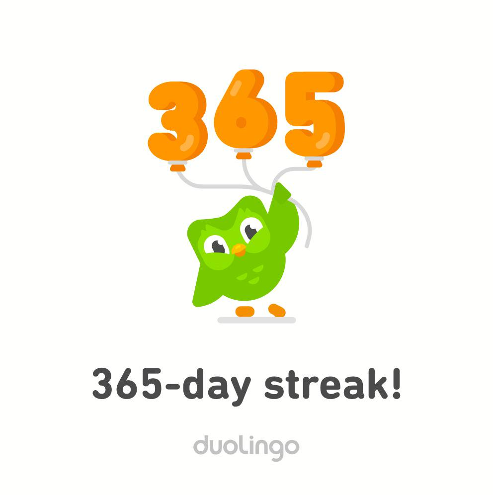 "A congratulatory image from the Duolingo app, featuring Duo the owl and the text ""365-day streak!"""
