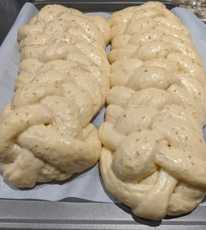 Challah braids after rising